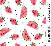 seamless watercolor watermelon... | Shutterstock .eps vector #1262013688