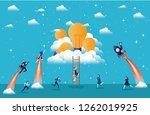 businesswomen flying in rockets ... | Shutterstock .eps vector #1262019925