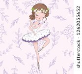 pretty ballerina illustration... | Shutterstock . vector #1262055652