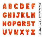 set of red capital a z alphabet ... | Shutterstock . vector #1262071768