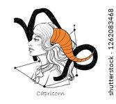zodiac sign capricorn.... | Shutterstock .eps vector #1262083468