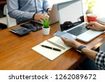 businessman work with friend on ... | Shutterstock . vector #1262089672
