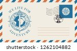 postal envelope with postage... | Shutterstock .eps vector #1262104882
