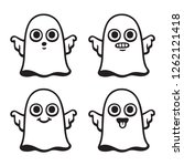 funny cartoon ghost drawing set ... | Shutterstock .eps vector #1262121418
