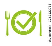 green plate with cutlery meal...   Shutterstock .eps vector #1262123785
