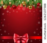 christmas poster with bow  | Shutterstock . vector #1262137588
