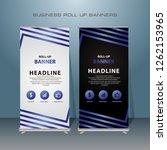modern roll up banner. blue... | Shutterstock .eps vector #1262153965