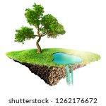 green grass island with tree... | Shutterstock . vector #1262176672