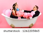your hair care routine. couple... | Shutterstock . vector #1262205865