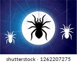 spider web on the moon and blue ... | Shutterstock .eps vector #1262207275