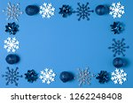 christmas decorated with blue... | Shutterstock . vector #1262248408