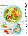 pasta salad with avocado  fresh ... | Shutterstock . vector #1262259748