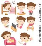 girl daily activities  | Shutterstock .eps vector #1262286745