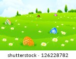 green landscape background with ... | Shutterstock .eps vector #126228782