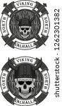skull viking in a horned helmet ... | Shutterstock .eps vector #1262301382