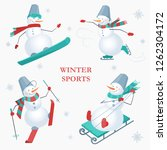 set of snowmen on a white... | Shutterstock .eps vector #1262304172