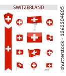 switzerland flag collection.... | Shutterstock .eps vector #1262304805