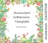 watercolor hand drawn greeting. ... | Shutterstock . vector #1262307028