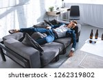drunk businessman resting on... | Shutterstock . vector #1262319802