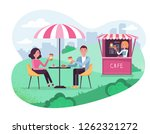 Park Cafe With Umbrella In...