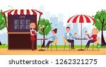 park cafe with umbrella. people ... | Shutterstock .eps vector #1262321275