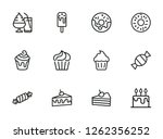 sweets line icon set. set of...   Shutterstock .eps vector #1262356252