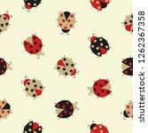 seamless cute ladybug pattern.... | Shutterstock .eps vector #1262367358