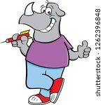 cartoon illustration of a rhino ... | Shutterstock . vector #1262396848