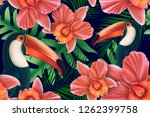 seamless design with tucan bird ... | Shutterstock . vector #1262399758