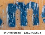 blue stencil painted on rusty...   Shutterstock . vector #1262406535