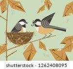 chickadee bird couple. cute... | Shutterstock . vector #1262408095