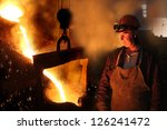 hard work in a foundry  melting ... | Shutterstock . vector #126241472