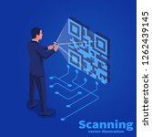 scanning qr code on mobile...   Shutterstock .eps vector #1262439145