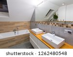 modern bathroom interior with... | Shutterstock . vector #1262480548