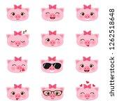 set of cute happy cartoon... | Shutterstock .eps vector #1262518648