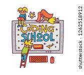 coding school. children... | Shutterstock .eps vector #1262518912