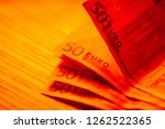 euro banknotes.macro image. | Shutterstock . vector #1262522365