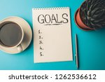 goals concept. notepad with... | Shutterstock . vector #1262536612