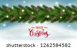 red merry christmas text on... | Shutterstock .eps vector #1262584582
