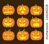 halloween pumpkins set | Shutterstock .eps vector #126260228