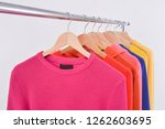 fashionable clothing on hangers ...   Shutterstock . vector #1262603695