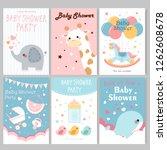 cute cartoon baby shower...   Shutterstock .eps vector #1262608678