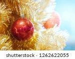 red christmas ornament ball... | Shutterstock . vector #1262622055