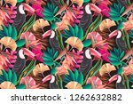 seamless design with toucan... | Shutterstock . vector #1262632882
