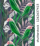 seamless pattern with parrots...   Shutterstock . vector #1262637415