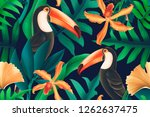 seamless design with toucan... | Shutterstock . vector #1262637475