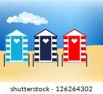 Vector Illustration Beach Huts...