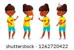 indian girl kid poses set... | Shutterstock .eps vector #1262720422