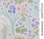 seamless floral pattern. garden ... | Shutterstock .eps vector #1262727115