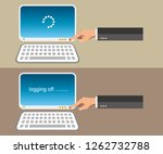 turning on and logging off... | Shutterstock .eps vector #1262732788